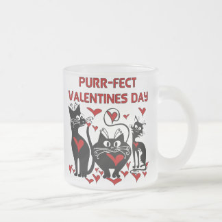 Purr-fect Valentines Day 10 Oz Frosted Glass Coffee Mug