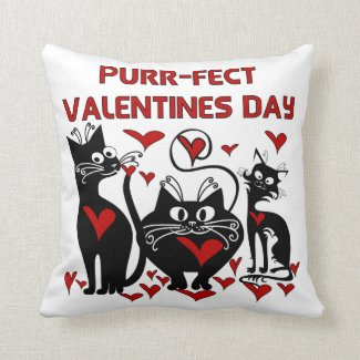Purr-fect Valentines Day Pillow
