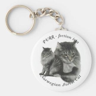 PURR-fection Norwegian Forest Cat Basic Round Button Keychain