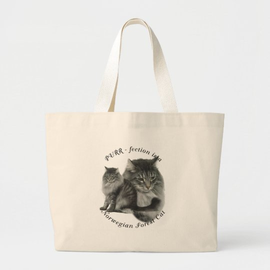 PURR-fection Norwegian Forest Cat Large Tote Bag
