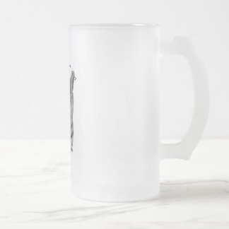 PURR-fection Silver Tabby Frosted Glass Beer Mug
