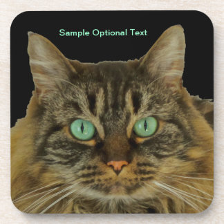Purr-fectly Cute Green Eyed Cat Coaster