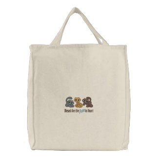 Purr in Heart Embroidered Bags
