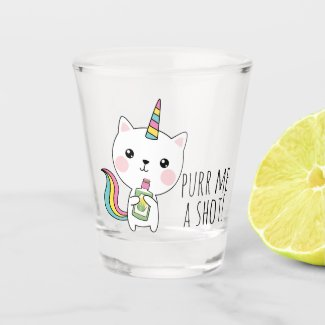 Purr Me a Shot Funny Tequila Kawaii Catcorn Shot Glass