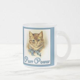 Purr Power 10 Oz Frosted Glass Coffee Mug