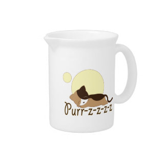 Purr-z Sleeping Kitty Cat Beverage Pitcher