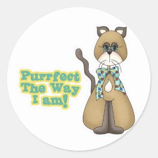 Purrfect Autism Awareness Kitty Cat Classic Round Sticker