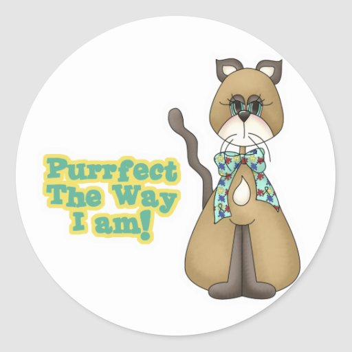 Purrfect Autism Awareness Kitty Cat Classic Round Sticker