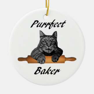 Purrfect Baker Cat Gifts crazy cat lady Double-Sided Ceramic Round Christmas Ornament