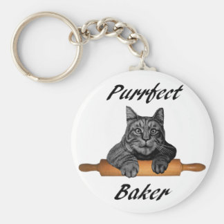 Purrfect Baker Cat Gifts crazy cat lady Keychain