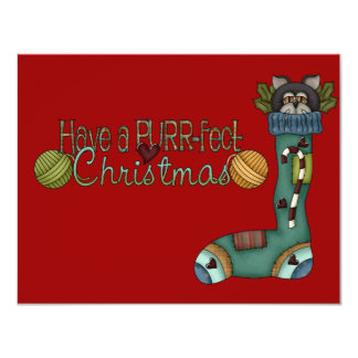 Purrfect Christmas Stocking Cat Card