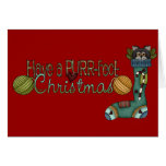 Purrfect Christmas Stocking Cat Greeting Card