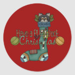 Purrfect Christmas Stocking Cat Round Stickers