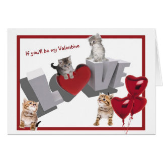 Purrfect Valentine's Day If You'll Be My Valentine Card