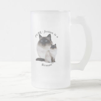 Purrfection Birman 16 Oz Frosted Glass Beer Mug