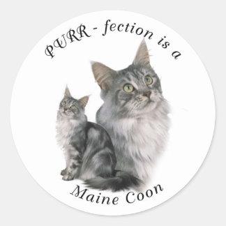 Purrfection Maine Coon Classic Round Sticker