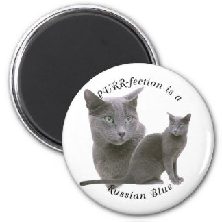 PURRfection Russian Blue 2 Inch Round Magnet