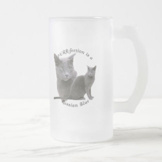 PURRfection Russian Blue Frosted Glass Beer Mug