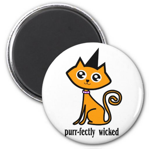 purrfectly wicked 2 inch round magnet