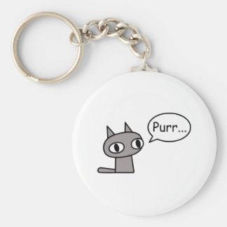 Purring Cat Basic Round Button Keychain