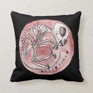 Purring Cat Skeleton Throw Pillow