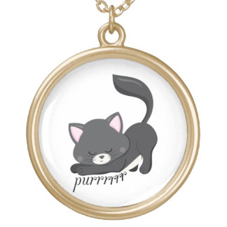 Purring Kitten Gold Plated Necklace