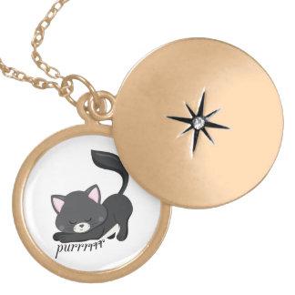 Purring Kitten Locket Necklace