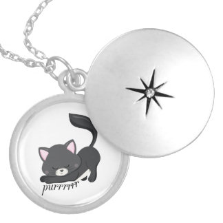 Purring Kitten Silver Plated Necklace