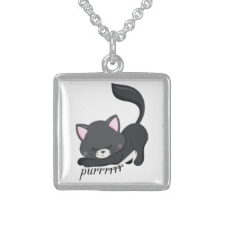 Purring Kitten Sterling Silver Necklace