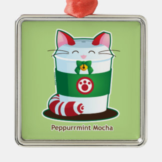 Purrista Pawfee - Cute Holiday Coffee Cat Metal Ornament