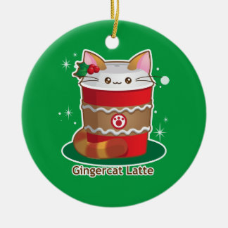 Purrista Pawfee: Cute Holiday Ginger Cat Coffee Ceramic Ornament