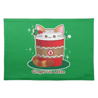 Purrista Pawfee: Cute Holiday Ginger Cat Coffee Cloth Place Mat
