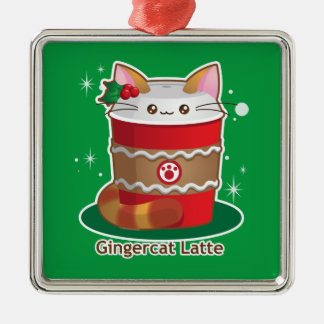 Purrista Pawfee: Cute Holiday Ginger Cat Coffee Metal Ornament