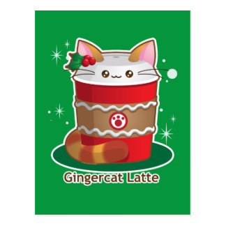 Purrista Pawfee: Cute Holiday Ginger Cat Coffee Postcard