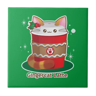 Purrista Pawfee: Cute Holiday Ginger Cat Coffee Small Square Tile