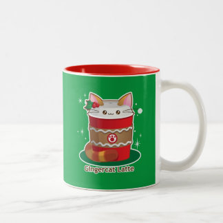 Purrista Pawfee: Cute Holiday Ginger Cat Coffee Two-Tone Coffee Mug