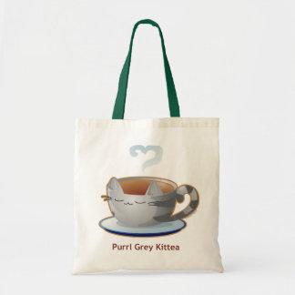 Purrista Pawfee: Grey Kitty Tea Mug Tote Bag