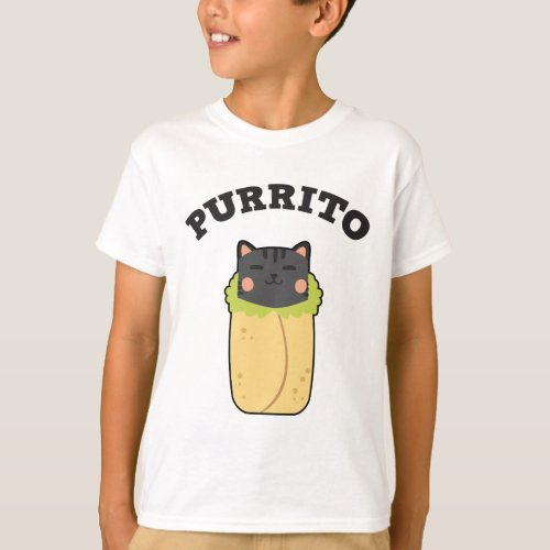 Purrito Funny Cat Pun Cat Lover Burrito Mexican T_Shirt