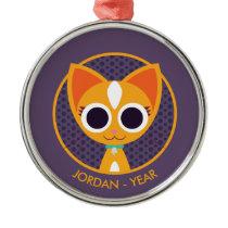 Purrl the Cat Metal Ornament