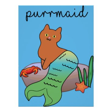 Beach Themed Purrmaid, Funny Ocean Cat Poster