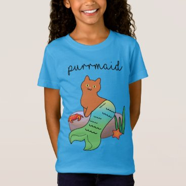 Beach Themed Purrmaid, Funny Ocean Cat T-Shirt