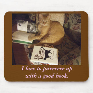 Purrr up with a good book mouse pad