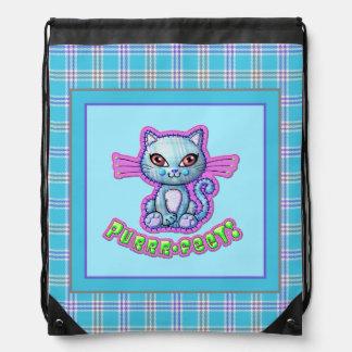 Purrrfect Plaid Kitten Cartoon Backpack