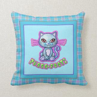 Purrrfect Plaid Kitten Cartoon Reversible Throw Pillow