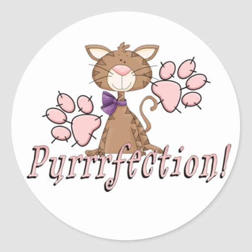 Purrrfection Kitty Round Stickers