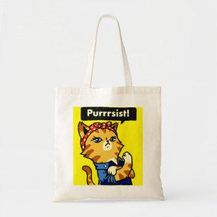 Pursist Persist Cat Feminist Cotton Shopping Tote Bag