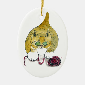Purrtrica and the Yarn Dance Ceramic Ornament