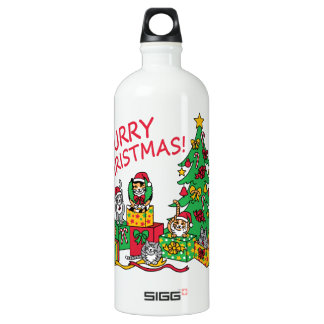Purry Christmas! Aluminum Water Bottle