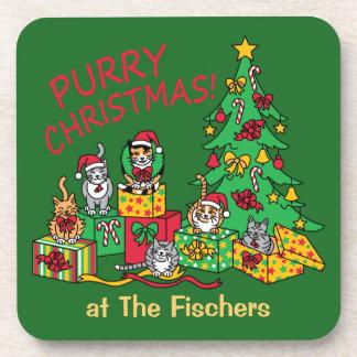 Purry Christmas! Beverage Coaster