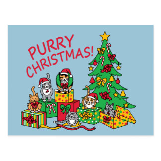 Purry Christmas! Postcard
